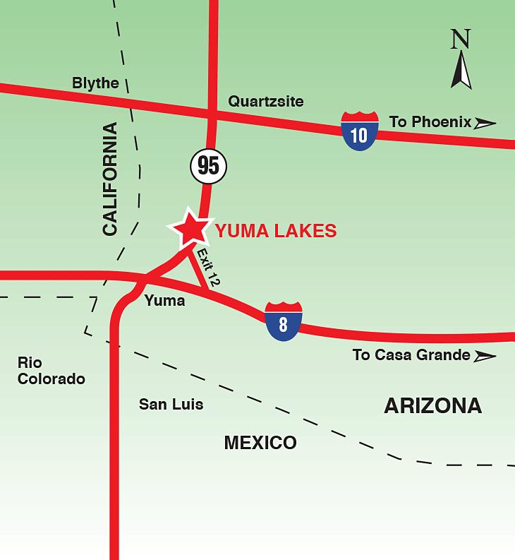 Yuma Lakes Resort - Driving Directions Map