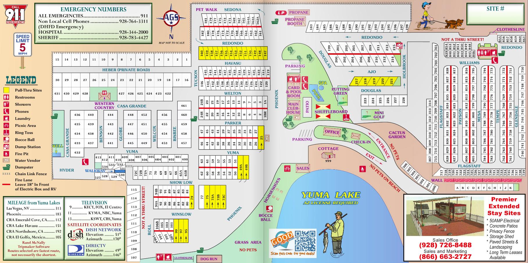 Yuma Lakes Resort Resort Map