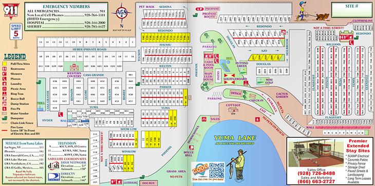 Yuma Lakes Resort - Resort Map